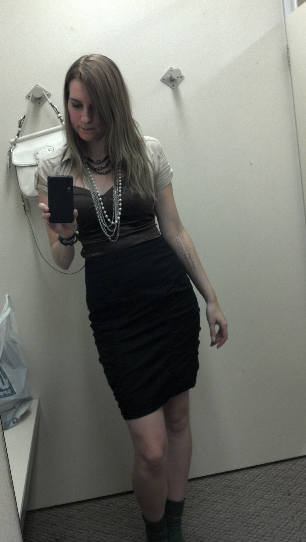 Something I actually bought during my last clearance conquest: MNG black pencil skirt, $5.