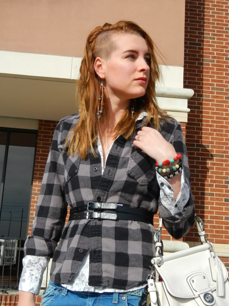 The plaid Heritage 1981 shirt may be the item of clothing I own with the most miles per dollar on it. The cowboyish shirt under it is H&M. Bracelets are made by Mihaela, Thom, and from the Catholic store.