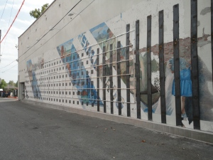Mural, slightly weathered.