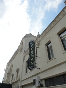 The sign of the old Coleman Theatre.