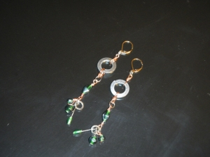 Green glass, copper, and hard wear earrings.