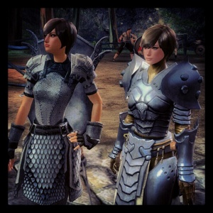 Warrior Sisters - my girl Sevenine and her npc doppelganger.