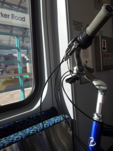3pm - On the Dart rail with the bike.