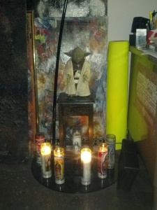 8pm - Yoda shrine with football on.