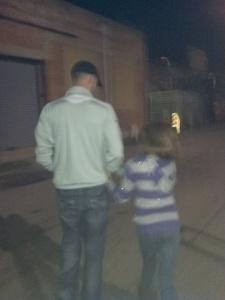 7:30pm - Thom and Madalyn (his sister) walking through Deep Ellum.