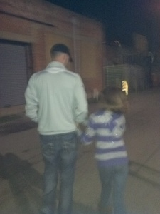 7:30pm - Thom and Madalyn (his sister) walking through Deep Ellum.