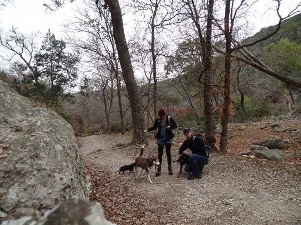 With the dogs, Lost Maples