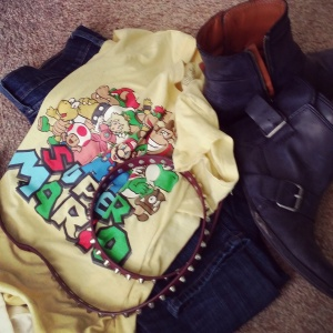 Mario shirt as dirty laundry