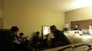 A hotel room that isn't mine. The traditional marketing team tradeshow work party.
