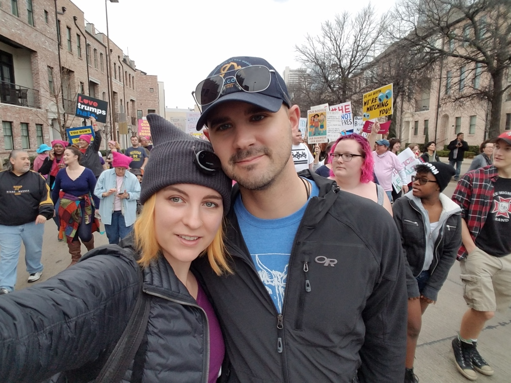 Thom and I at the Women's March in Dallas.